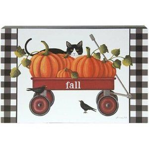 Fall Red Wagon with Kitty Cat Box Sign